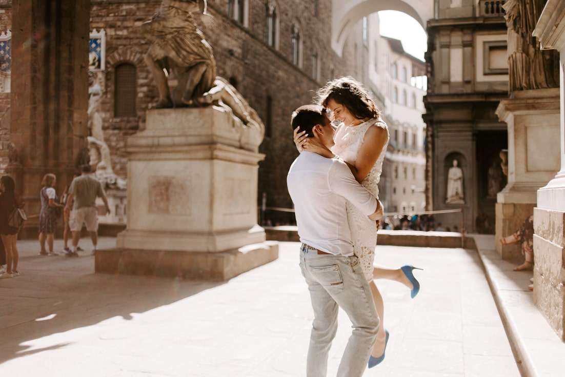 couple romantic at the street of florence