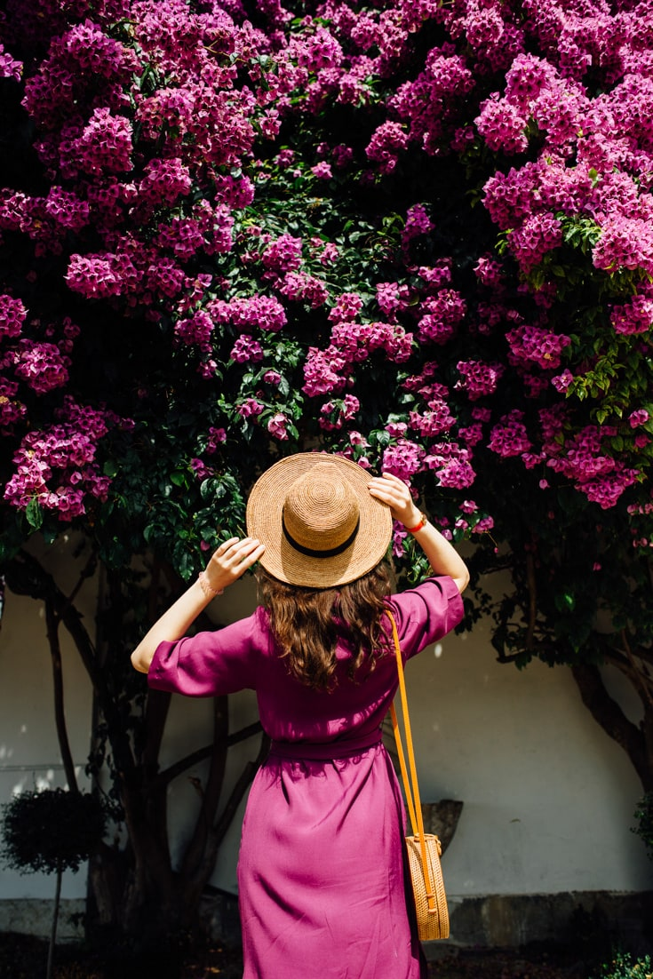 stylish woman near flower wall